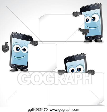 Stock Illustration Set Of Funny Cartoon Smart Phone Clip Art Clipart Gg64935470 Gograph
