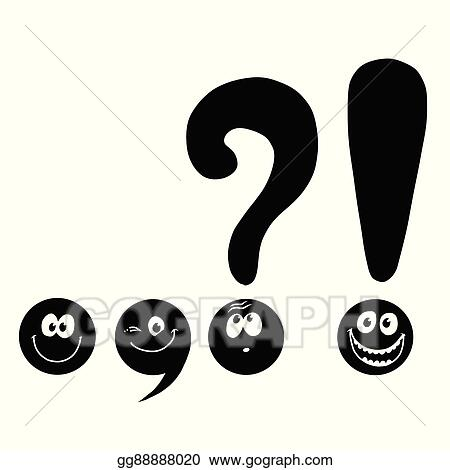 vector art set of funny smiley punctuation clipart drawing rh gograph com punctuation clip art free colon punctuation clipart