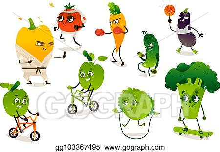 Vector Clipart Set Of Funny Vegetables Doing Sport Exercises Vector Illustration Gg103367495 Gograph