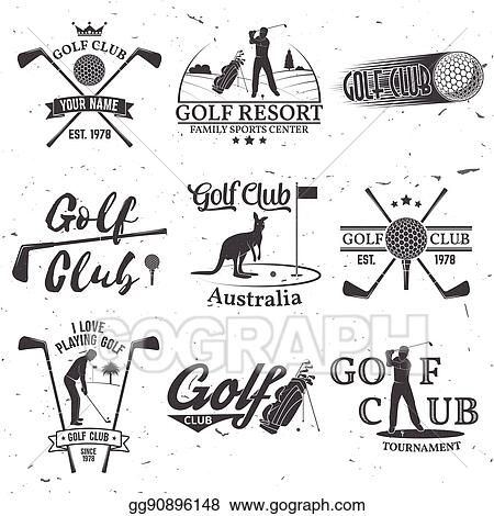 Vector Stock Set Of Golf Club Concept With Golfer Silhouette