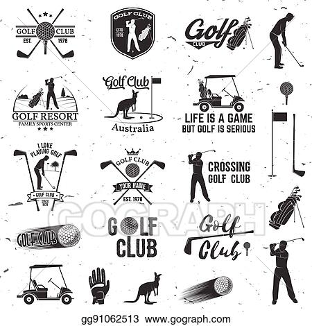 Vector Stock Set Of Golf Club Concept With Golfer Silhouette Clipart Illustration Gg91062513 Gograph