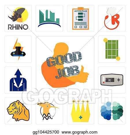 Vector Stock Set Of Good Job Free Brain Crown Hoopoe Tiger