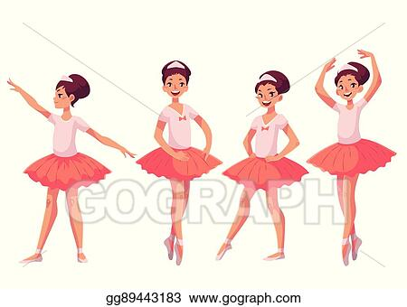 bc2c3be92 Vector Clipart - Set of graceful pretty young ballerinas in pink ...