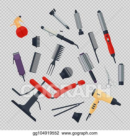 Vector Stock Set Of Hairdresser Objects In Flat Style On