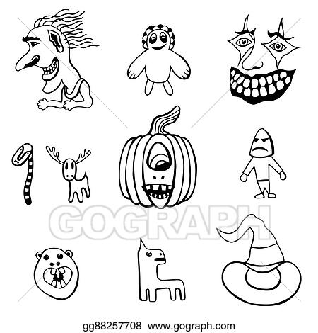 Eps Illustration Set Of Halloween Vector Clipart Gg88257708 Gograph
