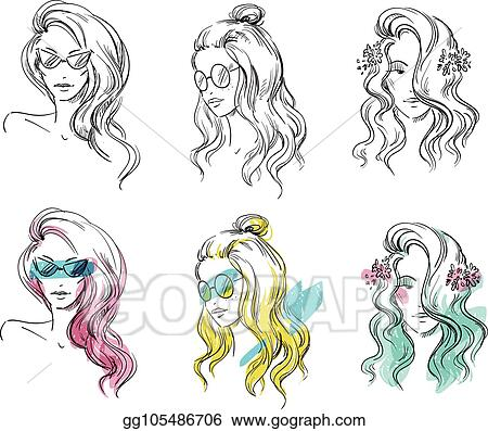 EPS Vector , Set of hand drawn hairstyles, vector sketch