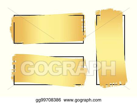 Vector Illustration - Set of hand drawn luxury bright golden