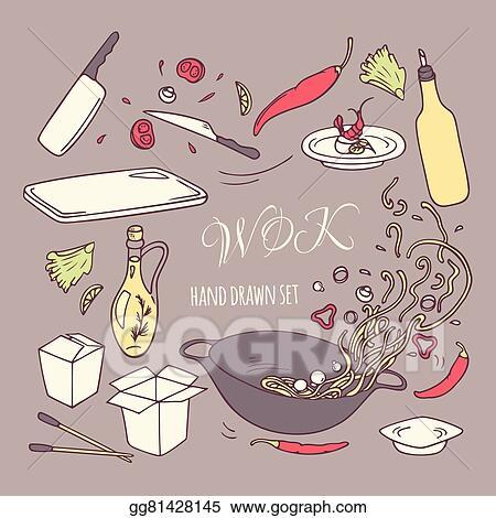Set Of Hand Drawn Wok Restaurant Elements Doodle Asian Food