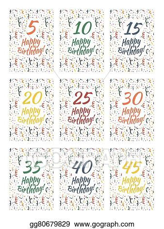 Set Of Happy Birthday Card Covers For Anniversary 51015202530354045 Years