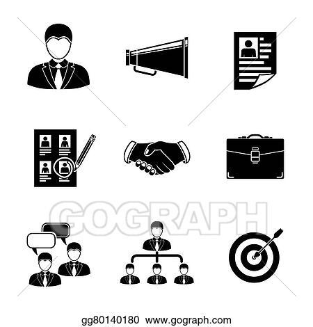 EPS Vector - Set of head hunter icons - handshake, resume ...