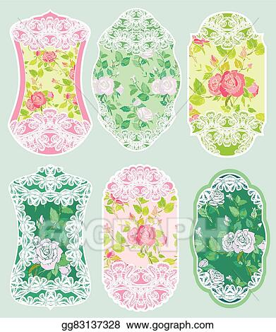 Vector Art - Set of holiday banners and labels in pink and green ...