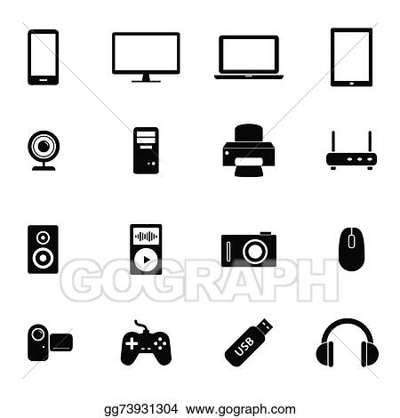 Eps Vector Set Of Icons Electronic Devices Stock Clipart