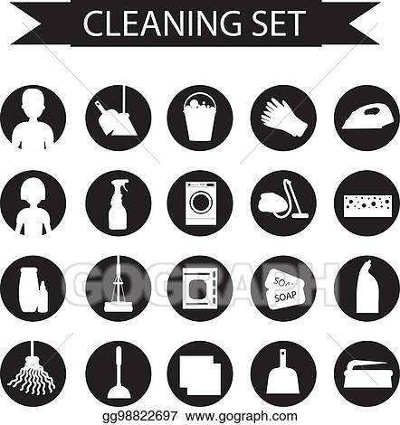 Vector Art Set Of Icons For Cleaning Tools House Cleaning