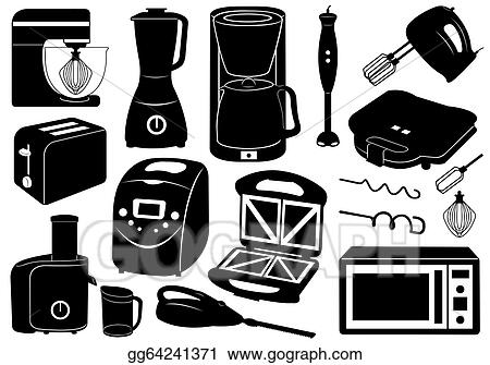 Drawing Set Of Kitchen Appliances Clipart Drawing Gg64241371