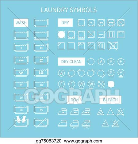 Vector Clipart Set Of Line Simple Washing Instruction Symbols