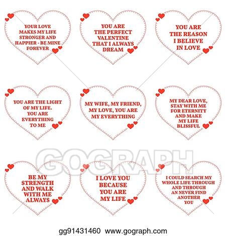 Vector Clipart - Set of love wishes quotes over white ...