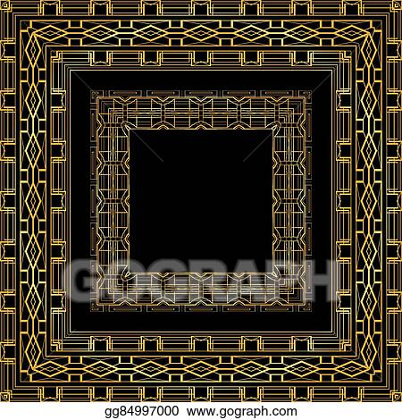 Vector illustration set of luxurious gold vintage frames in gatsby set of luxurious gold vintage frames in gatsby style vector element for invitations greeting cards and your design stopboris Image collections