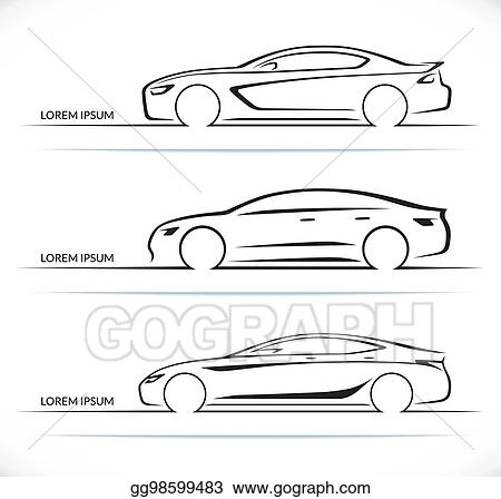 Vector Art Set Of Luxury Car Silhouettes Side View Of Four Door