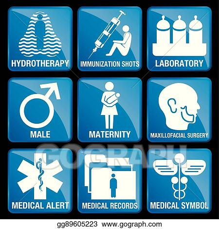 Vector Clipart Set Of Medical Icons In Blue Square Background