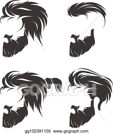 Vector Art Set Of Mens Hairstyle With Beard Mustache