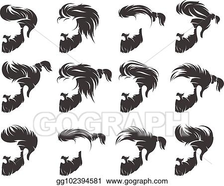 Vector Art Set Of Mens Hairstyle With Beard Mustache Clipart