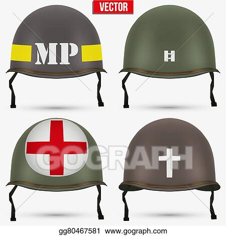 Vector Art - Set of military us helmet m1 wwii  EPS clipart