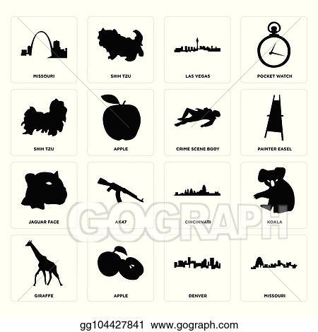 Clip Art Vector - Set of missouri, denver, giraffe, cincinnati