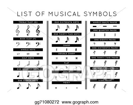 Drawing Set Of Musical Symbols Clipart Drawing Gg71080272 Gograph