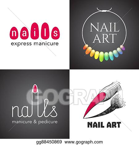 Vector Illustration Set Of Nails Salon Nails Art Vector Logo