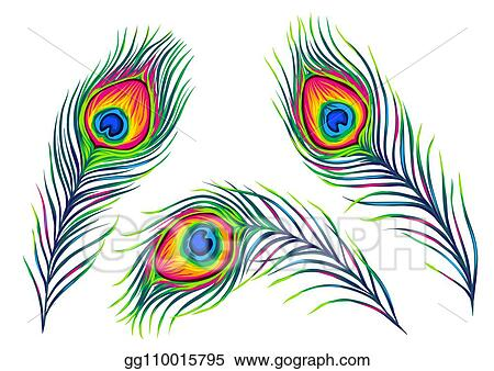 eps illustration set of peacock feathers vector clipart gg110015795 gograph https www gograph com clipart license summary gg110015795