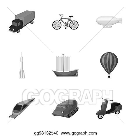 Drawings Set Of Pictures About Types Of Transport Transportation