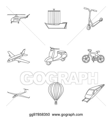 Stock Illustrations Set Of Pictures About Types Of Transport