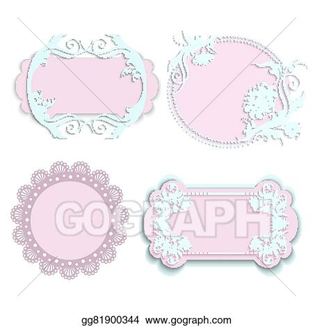 Vector Clipart - Set of pink frames for girls. Vector Illustration ...