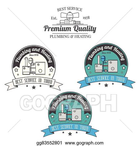 Vector Art - Set of plumbing and heating vintage labels. outdoor for ...
