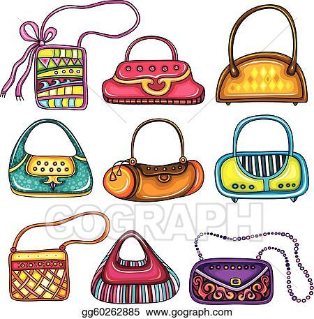 vector art set of purses clipart drawing gg60262885 gograph rh gograph com Coach Purse Clip Art Purse Border Clip Art
