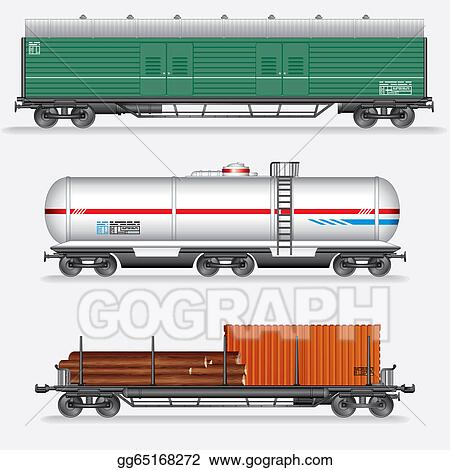 Stock Illustration - Set of rail freight car, train waggons  Clipart