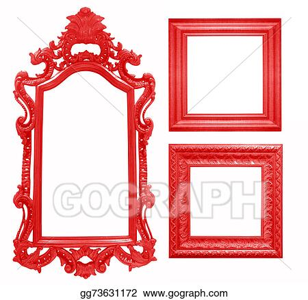 Picture - Set of red vintage frame isolated on white background ...