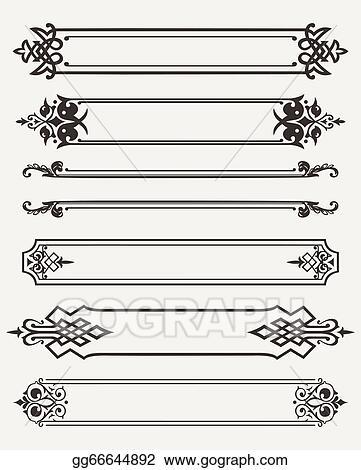 Vector Illustration - Set of retro antique frames engraving. Stock ...