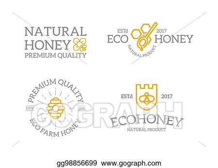 Vector Clipart Set Of Retro Vintage Honey And Shield With A Bee