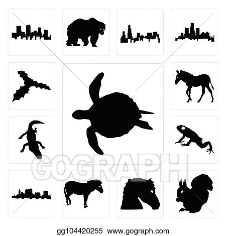 Clip Art Vector Set Of Sea Turtle Outline On White Background A