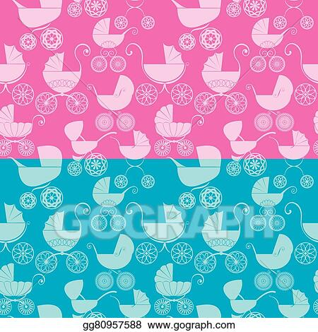 Clip Art Vector Set Of Seamless Pattern With Buggy On Pink And Blue Background Baby Shower For Girl And Boy Stock Eps Gg80957588 Gograph