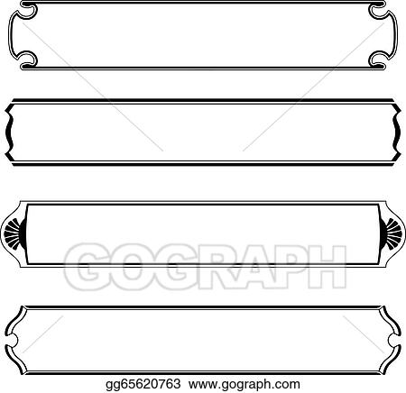 Vector Stock - Set of simple black banners border frame. Clipart ...