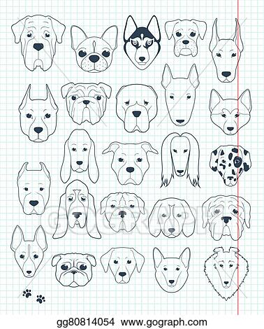 clip art vector set of sketches 24 dogs different breeds handmade