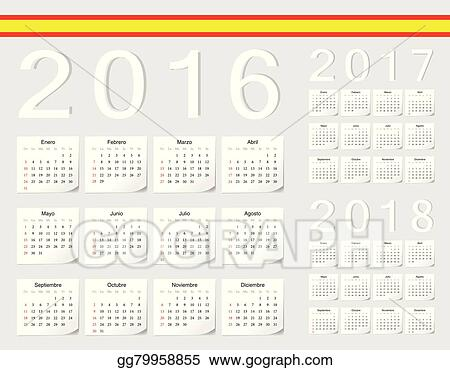 set of spanish 2016 2017 2018 vector calendars