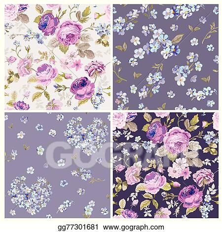 Clip Art Vector Set Of Spring Flowers Backgrounds Seamless