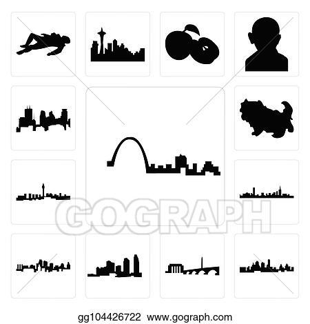 Vector Art Set Of St Louis Skyline Kansas City Dc Long Island