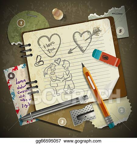 1dacf3577683a EPS Vector - Set of stationery, school supplies and love in vintage ...
