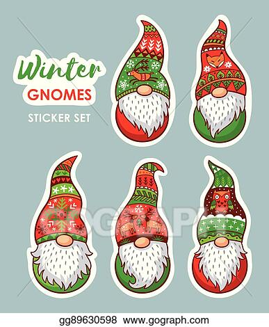 Christmas Gnomes Clipart.Vector Stock Set Of Stickers With Christmas Gnomes