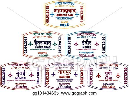 Set Of Stylised Passport Stamps For Major Airports Western India In Vector Format