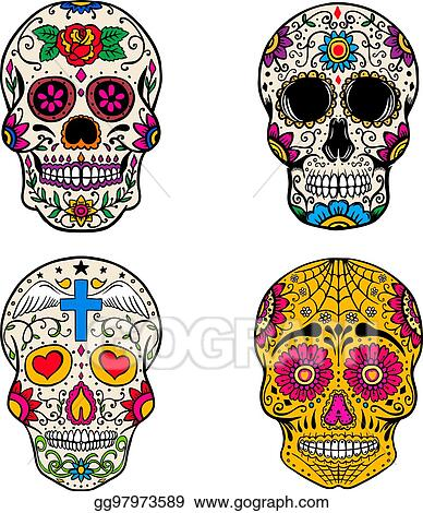 Set Of Sugar Skulls Isolated On White Background Day The Dead Dia De Los Muertos Vector Illustration